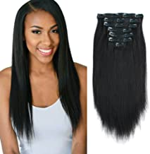 Lovrio 9A Yaki Straight Real Remy Thick 100% Clip in Human Extensions Natural Black Color Full Head Brazilian Virgin Hair for Black Women 7 Pieces 120g YK 16 inch