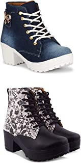 KRAFTER Combo of 2 Perfect Girls High Ankel Boots for Women