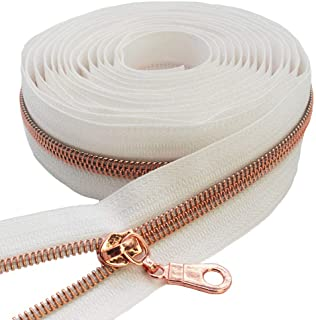 MebuZip #5 Rose Gold Metallic Nylon Coil Zippers by The Yard Bulk Coil Zipper Roll 10 Yards with 25pcs Pulls for DIY Sewin...