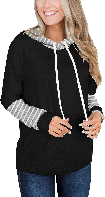 GRONEP Women's Casual Hoodies Long Sleeve Sweatshirts Striped Tunics Tops Fall Blouse Shirts