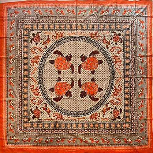 etnico Telo arredo Batik con Ricami Dorati arazzo 210 x 220 cm Circa Hippie Om Indiano Made in India colorato Spiaggia Copri Divano ajrak Tartarughe (Arancione)