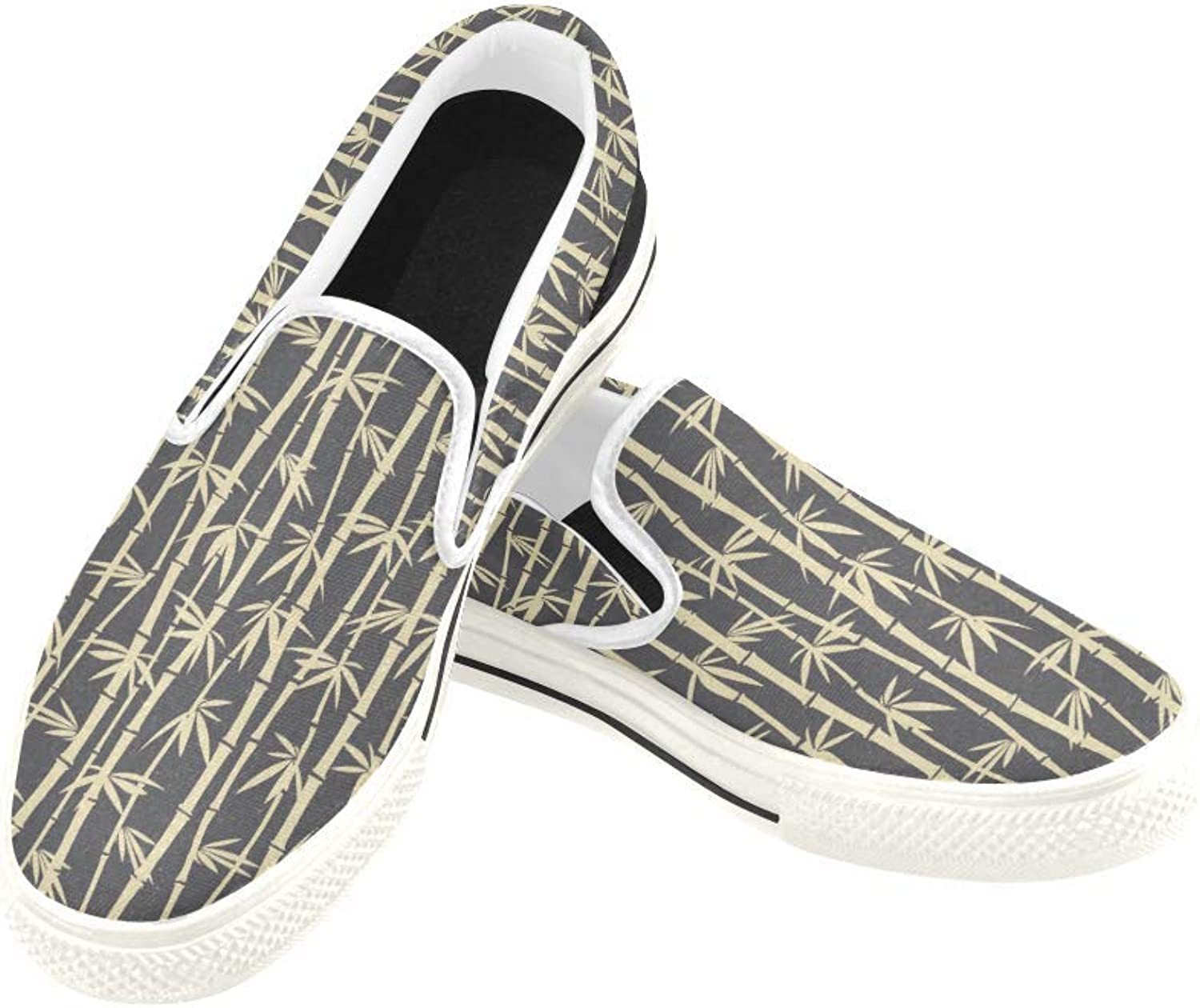 InterestPrint Womens Slip On Canvas shoes Loafers Bamboo 1 Girls Classic Casual Sneakers Flats