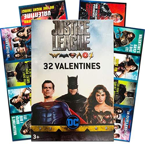 Justice League 32 Valentines (1 Box) Classroom Exchange Cards with Superman, Aquaman, Wonder Woman, Batman, Flash - DC Comics Hit Super Hero Movie