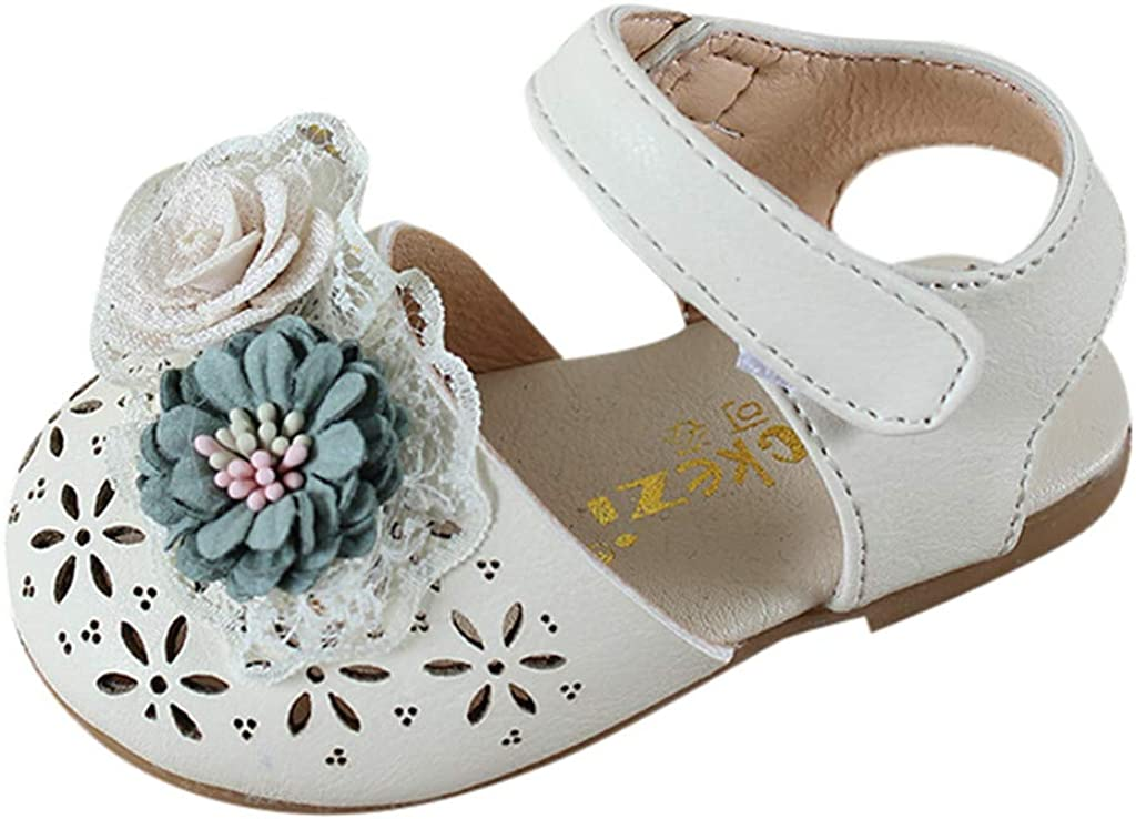 Toddler Sandals Leather Soft Closed Toe Princess Flat Shoes Kids Sweet Elegant Pearl Flower Princess Shoes Memela