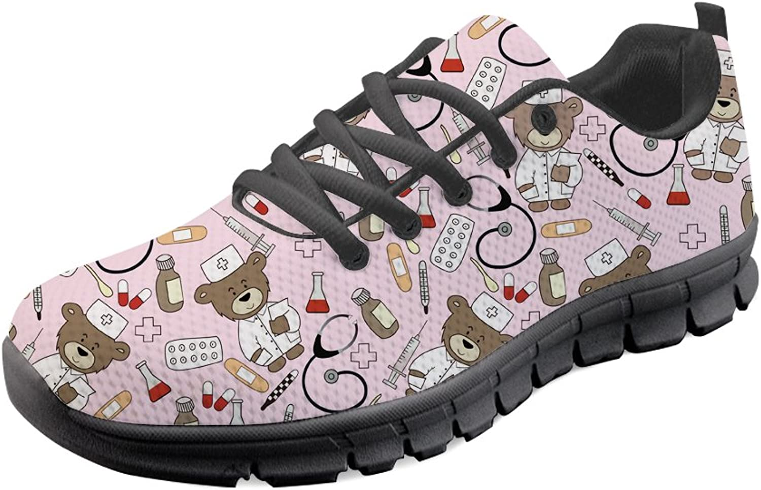 HUGS IDEA Cartoon Bear Pattern Women's Lightweight Running shoes Sport Walking Sneakers