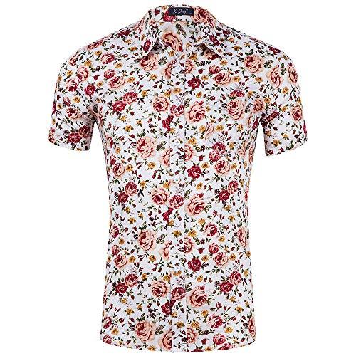 WINJIN Chemise Homme Chemise Casual Tee Shirt à Fleurs Été Hawaienne Plage Floral Imprimé T-Shirt Homme Manches Courtes Chemise Plage Haut Top Blouse Homme Cool et Respirant pour Vacances Voyage Surf