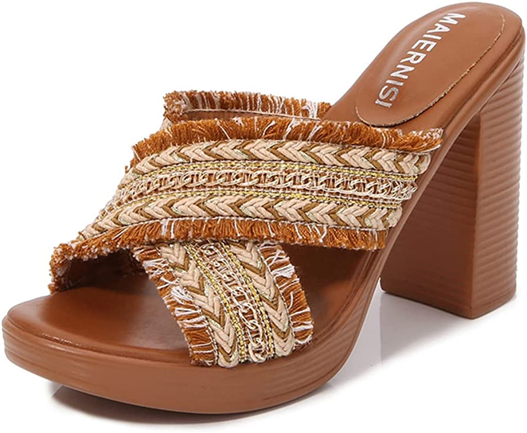 GCOCO Women's Popular standard Chunky High Heels Sandals Slide Fashion Toe Open C Brand new
