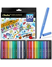 Fabric Markers Pen, Ohuhu 30 Colors Permanent Fabric Paint Marker Pens for DIY Costumes, T-Shirt, Clothes, Shoes, Bags, Canvas, Handbags, Graduation Signatures, Fabric Pens for Kids Adult Painting
