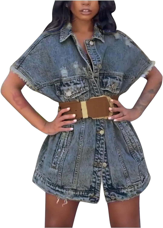 YANH 2021 Ladies Ripped Off-Shoulder Button Denim Jacket, Plus Size Waist Denim Jacket With Pockets, Stylish Personality