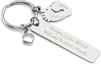 Personalized Master Free Engraving Custom Engraved Name Message Birth Announcement Keychain, Baby Feet Charm Key Ring New Parents Father Mother