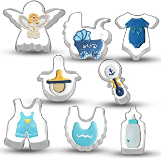 Bonropin Baby Shower Cookie Cutter Set - 8 Piece Stainless Steel Cutters Molds Cutters for Making Onesie, Bib, Rattle, Bottle, Nipple, Angel, Baby Carriage, Baby Pants