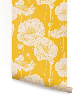 Peony Wallpaper - Yellow - 2 ft x 4 ft - Single - by Simple Shapes