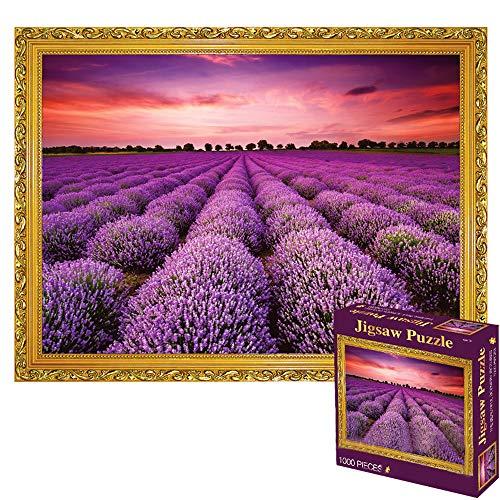 Jigsaw Puzzle 1000 pezzi per bambini, paesaggio naturale, fiori, lavanda, puzzle di paesaggio di viaggio per l'arte della parete di casa