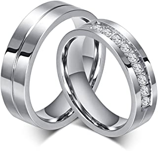 SWOPAN His & Hers Couple Ring Promise Ring 6MM Wide Stainless Steel Couple Wedding Engagement Bands Cubic Zirconia CZ Rings for Women Men Matching Princess Cut Bridal Jewelry Gifts US Size 5-14