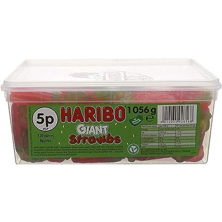 HARIBO Strawberry Vegetarian Sweets in Bulk ,giant sour strawbs , GIANT STRAWBS, 1056 gram