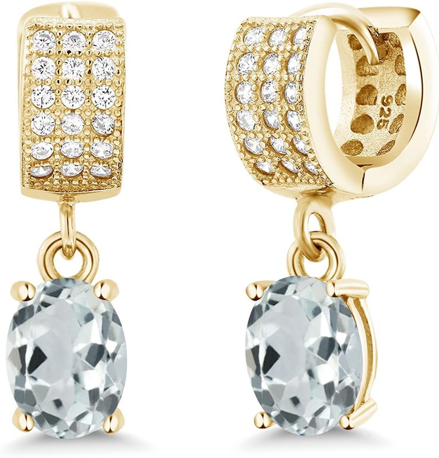 2.87 Ct Oval Sky bluee Aquamarine 18K Yellow gold Plated Silver Earrings