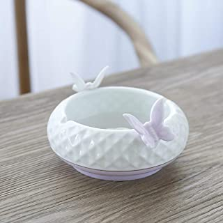 Ashtray, Ashtray Ceramic White Porcelain Celadon Ceramic Tea Ceramic Set Creative House Living Room Large (Color: Purple),Colour:Blue (Color : Purple)
