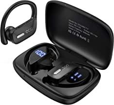 هدفون بلوتوث Occiam-Earbuds بی سیم واقعی 48 ساعته هدفون Playtime TWS با صدای عمیق با صدای بلند با صدای بلند با گوش ضد آب با صفحه نمایش LED هوشمند میکروفون برای ورزش در حال اجرا بازی ورزشی - سیاه