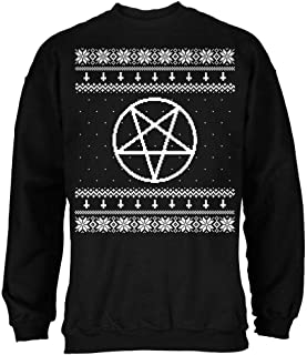 White Satanic Pentagram Ugly Christmas Sweater Black Adult Sweatshirt