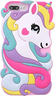for iPhone 6 Plus/6S Plus Case,for iPhone 7 Plus Case,for iPhone 8 Plus Case,iFunny Cute 3D Cartoon Animal Rainbow Unicorn Horse Shockproof Protective Soft Rubber Silicone Phone Cases(5.5 Inch) (Pink)