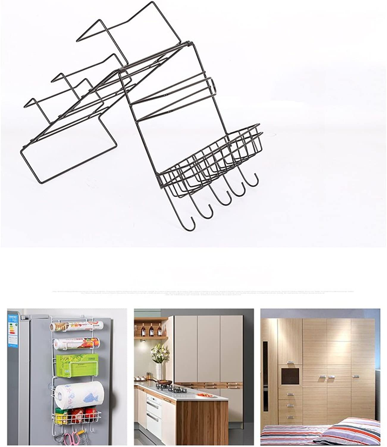 LBYMYB Creative Refrigerator Side Hanger Wrought Iron Kitchen Shelf Wall Mount Kitchen Appliances Storage Plastic Wrap Shelf Kitchen Storage Rack (color   Bronze)