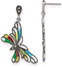 925 Sterling Silver Marcasite Multi Color Epoxy Butterfly Post Stud Earrings Animal Fine Jewelry Gifts For Women For Her