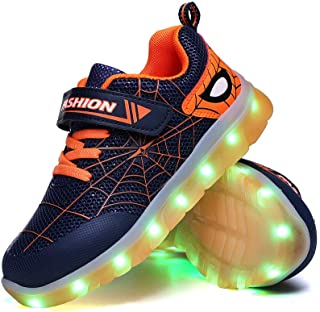 YUNICUS Kids Light Up Shoes Led Flash Sneakers with Spider Upper USB Charge for Boys Girls Toddles