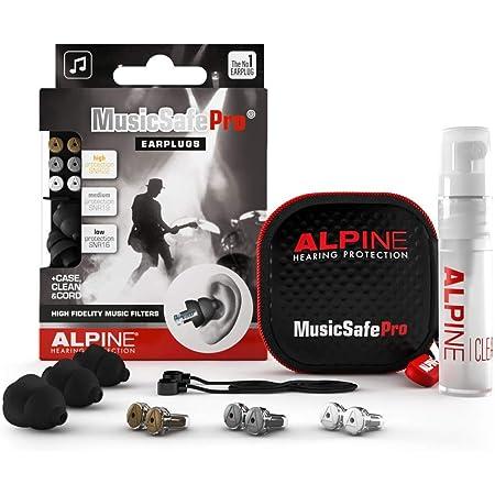 Alpine MusicSafe Pro Bouchons d'oreilles : protections auditives pour musiciens - Haute fidélité du son - 3 jeux de Ffltres interchangeables -Hypoallergénique et réutilisables – Embouts noirs