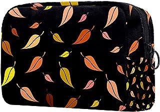 Leaves Black Pattern Makeup Bag Toiletry Bag for Women Skincare Cosmetic Handy Pouch Zipper Handbag