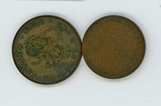 CA 1918 1854 Lot of 2 Canadian 1 Cent and Half Penny Bank Token VF