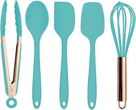 Amazon Com Cook With Color Silicone Cooking Utensils 5 Pc Kitchen Utensil Set Easy To Clean Silicone Kitchen Utensils Cooking Utensils For Nonstick Cookware Kitchen Gadgets Set Mint Green And Copper Kitchen