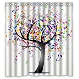 FMSHPON Multi-color Music Note Tree Creative Waterproof Polyester Fabric Shower Curtain 66x72 inches