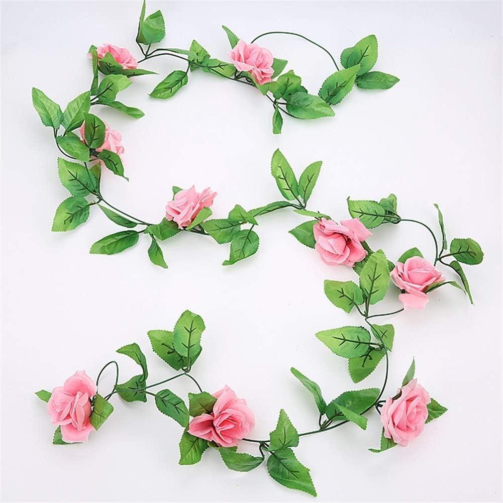 Jun7L 8 Pack Rose Garland Fake Rose Vine Flowers Plantas Artificial Flower Hanging Rose Ivy Home Hotel Office Wedding (Color : Dark Pink)