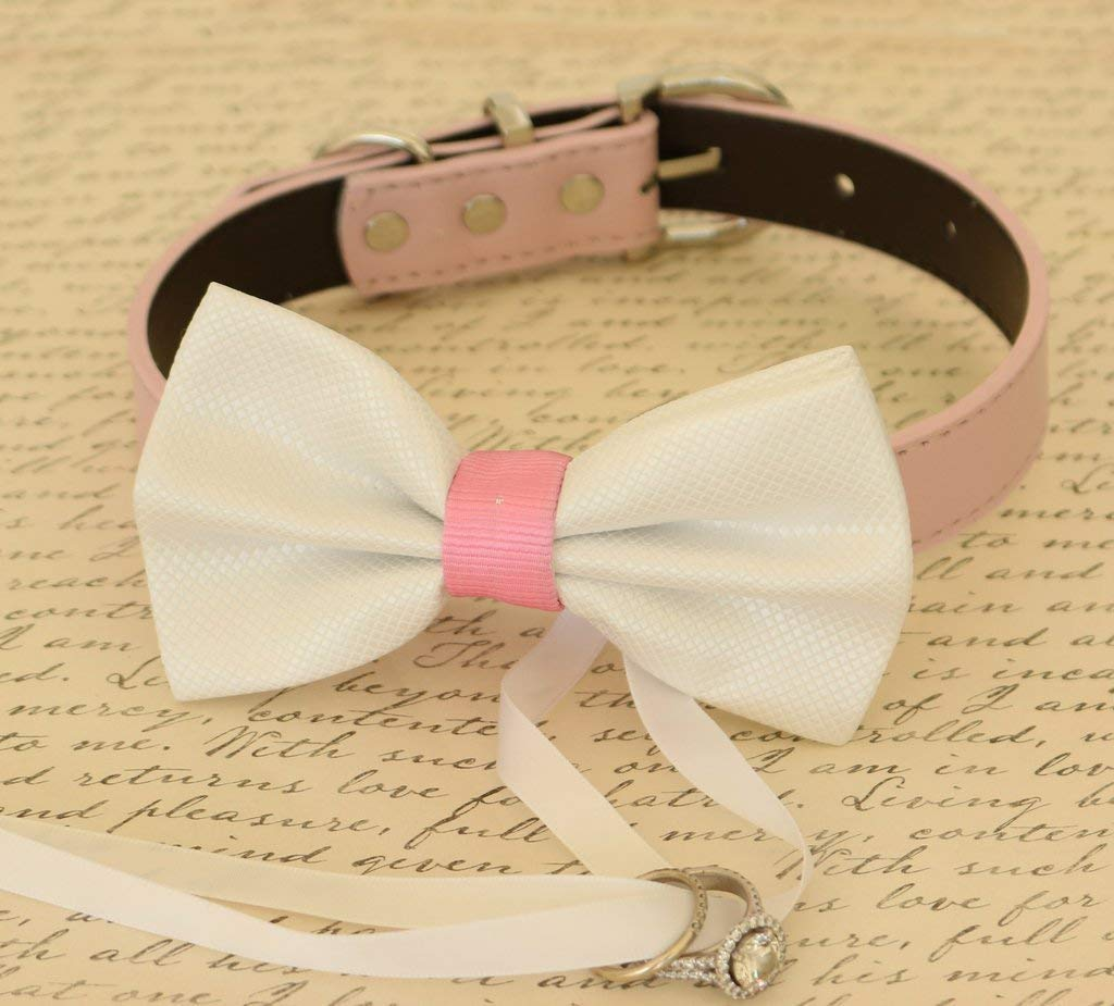 White and Pink Dog Bow Tie Wedding Popular product collar bearer Pet ring cheap Pro