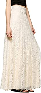 Women Lace Double Layer Pleated Long Maxi Skirt Elastic Waist Skirt