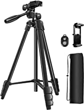 55 Inches Camera Tripod, Phone Tripod with Stand Lightweight Aluminum Universal and 1/4 Plate, Tripod Mount for iPhone and Android Combine Carrying Bag with Bluetooth Remote for Traveling.