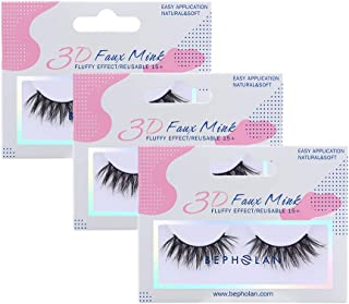 BEPHOLAN 3 Pairs False Eyelashes Synthetic Fiber Material| 3D Faux Mink Lashes| Natural Round Look| Reusable| 100% Handmade & Cruelty-Free| XMZ142