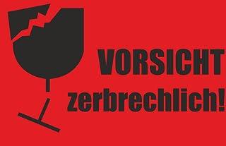 """INDIGOS UG - Aufkleber - Warnetiketten""""Vorsicht zerbrechlich!"""" neon rot, 85 x 55 mm - 10 Stück"""
