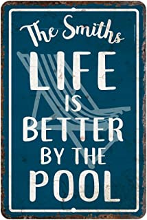 Personalized Vintage Distressed Look Life's Better by The Pool Metal Room Sign