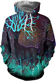 Unisex Realistic 3D Print Galaxy Pullover Hoodie Funny Pattern Hooded Sweatshirts Pockets for Teens Jumpers