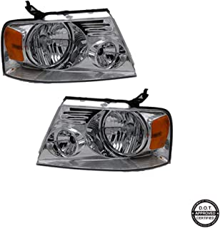 Replacement Headlight Assembly GFDPU04-A2 With Chrome Housing Amber Reflector Clear Lens for Ford F150 Pickup 2004-2008 HL-OH-F1504-CH-AM Driver and Passenger Side 7L3Z 13008 GA 7L3Z 13008 FA