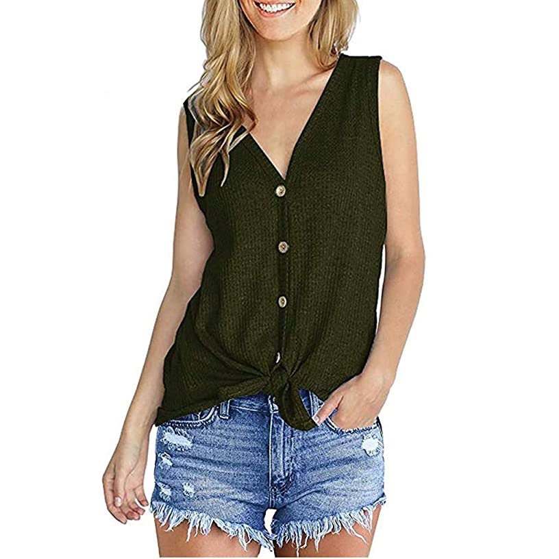 NUWFOR Womens Waffle Knit Tunic Blouse Tie Knot Tops Loose Fitting Bat Wing Plain Shirt(Army Green,S US (4-6))