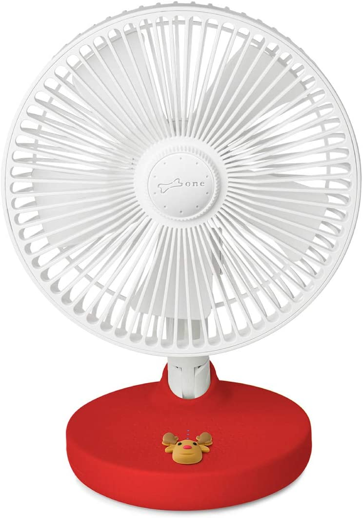 Bone USB Desk Fan 2000mAh Built-in Battery Portable Fan, Fordable Table Fan with 180° Rotation, 3 Wind Speed Levels, Strong Airflow and Quiet Operation for Home Office Outdoor Travel (Mr. Deer)