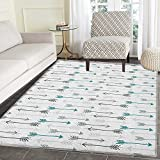 Teal Print Area rug Retro Arrow Pattern In Horizontal Line Heading To Opposite Directions Art Print Indoor/Outdoor Area Rug 5'x6' Grey Teal White