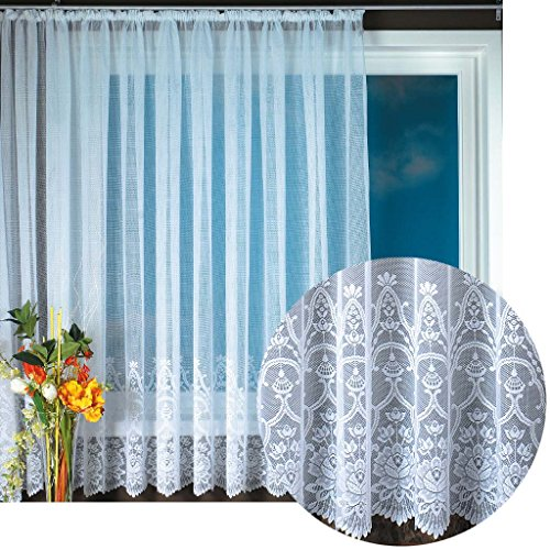 Gardine Jacquard Universalband Spitzenoptik Vorhang Blumenmuster weiß, Auswahl: 500 x 175 cm, Design: Felicitas