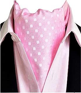Men's Pink White Plaid 100% Silk Cravat Ties Jacquard Woven Ascot Scarf