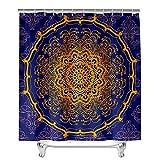 Hiser Duschvorhang aus Polyester Wasserdichter, Waschbare Duschvorhänge mit 12 Duschvorhangringen, Mandala Drucken Badewannevorhang für Badezimmer (Königsblaues Mandala,90x180cm)