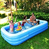 AZSSMUK Inflatable Pool,120' X 72' X 22' Full-Sized Adult Inflatable Swimming Pool Kiddie Pools for Family Kids, Adults, Infant, Garden, Backyard,Water Party,Summer Water Party,Family Swimming Center