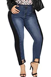 Suncolor8 Women Mid Waist Floral Embroidery Ripped Holes Cut Off Denim Jeans Pencil Pants