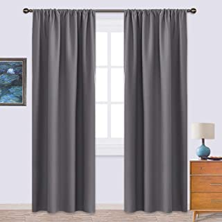 NICETOWN Blackout Curtains 84 for Office - 3 Pass Microfiber Noise Reducing Thermal Insulated Solid Rod Pocket Blackout Window Panels/Drapes (2 Panels,42 x 84 Inch,Gray)